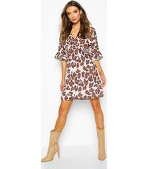leopard print ruffle smock dress, brown