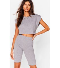 womens best i ever pad top and biker shorts set - grey marl