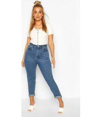 plus licht gebleekte mom jeans met hoge taille, lichtblauw