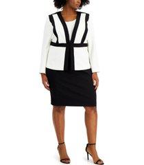 le suit plus size colorblocked skirt suit