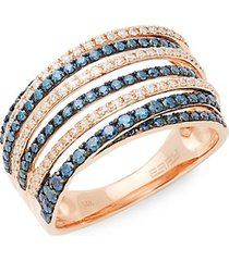 14k rose gold diamond multi-band ring