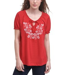 tommy hilfiger cotton embroidered peasant top