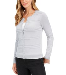 charter club petite textured-front metallic-threaded cardigan, created for macy's