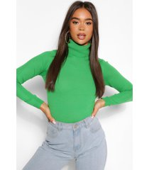 basic roll neck sweater, green