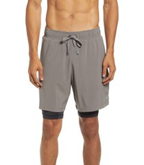 alo unity 2-in-1 shorts, size large in shadow grey at nordstrom
