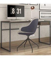 mesa para escritório elisa 1 gaveta amêndoa negra/preto - novabras