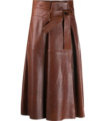 chloé belted a-line skirt - brown