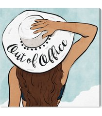 "oliver gal out of office sun hat canvas art - 12"" x 12"" x 1.5"""