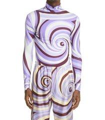 men's raf simons swirl print turtleneck top, size small - purple