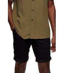 men's topman stretch skinny chino shorts, size 28 - black
