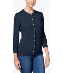 karen scott petite crew-neck cardigan, created for macy's