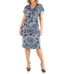 24seven comfort apparel women's plus size wrap over style paisley midi dress