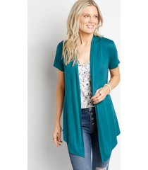 maurices womens teal short sleeve open front cardigan blue