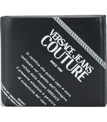 versace jeans couture logo-print bifold wallet - black