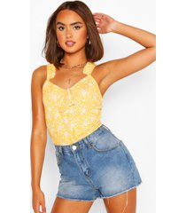 ditsy floral print frill strap top, yellow