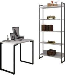 conjunto escritã³rio mesa escrivaninha 90cm e estante 5 prateleiras estilo industrial new port f02 branco - mpozenato - branco - dafiti