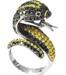 anel prata mil italiano cobra de prata c/ zircônia prata