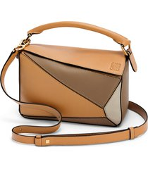 loewe small puzzle calfskin leather shoulder bag - brown