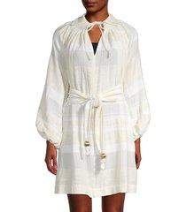 lisa marie fernandez women's collared mini dress - cream white - size xs