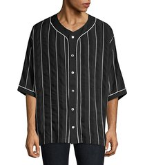 harlem stripe button-down baseball shirt