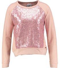 pepe jeans kortere roze sweater met pailletten