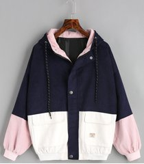 color block hooded corduroy jacket