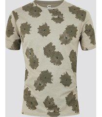 mönstrad t-shirt i ekologisk bomull - brun