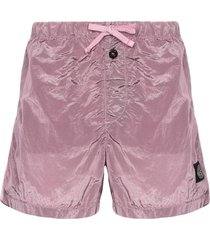 stone island logo patch swim shorts - pink