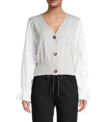 lea & viola women's eyelet-sleeve cardigan - grey - size s