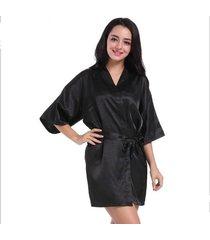 camisón de mujer kimono de seda simulada robe color sólido