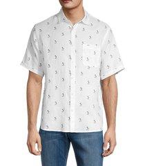 saks fifth avenue men's palm regular-fit shirt - white - size m