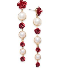 thalia sodi gold-tone imitation pearl & rosette drop earrings, created for macy's