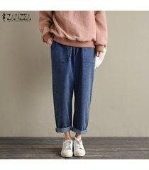 zanzea mujeres pierna ancha elástico de la cintura pantalones anchos tamaño de los pantalones pull-on plus -azul