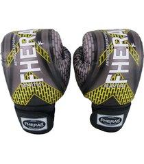 luva boxe fheras muay thai top - 14 oz iron amarelo