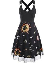 sun moon star print lace insert criss cross dress
