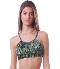 sutiã simony lingerie top com tiras trilobal estampado verde - kanui