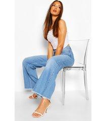 spijkerbroek met wijde pijpen en hoge taille, lichtblauw