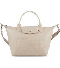 le pliage crocodile-embossed leather top handle satchel