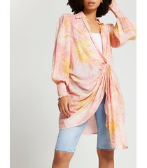 river island womens pink buckle twist front beach shirt