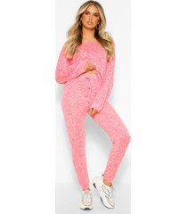 gebreide top & leggings lounge set, rood