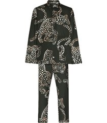 desmond & dempsey animal print cotton pajama set - green