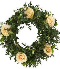 nearly natural 18in. eucalyptus and camellia double ring artificial wreath with twig base