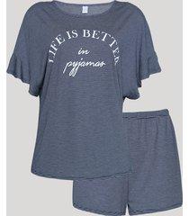 "pijama feminino ""life is better"" listrado manga curta azul marinho"