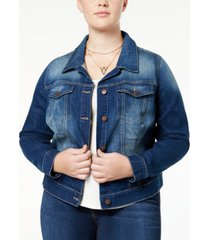 jessica simpson trendy plus size pixie long sleeve denim jacket