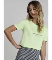 """blusa feminina """"calma, deixa fluir"""" manga curta decote redondo verde"""