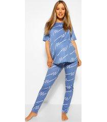 zwangerschaps mama pyjama set met broek, blue