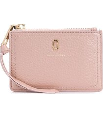 marc jacobs the softshot pearlized top-zip wallet - pink