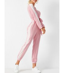 yoins rosa con cordones diseño patchwork cuello en v manga larga mono