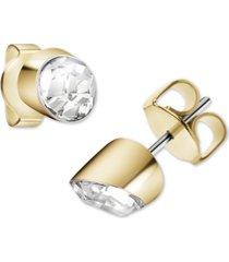 calvin klein crystal stud earrings in gold-tone pvd