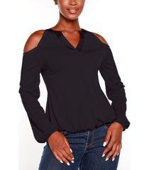 belldini black label petite studded cold shoulder top